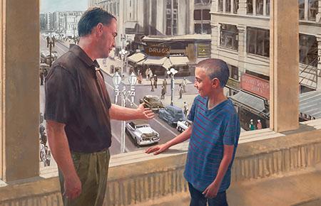 father-teaching-son-window