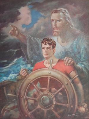 Sailor w-Jesus by Warner Sallman