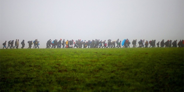 Syrian refugees entering Europe