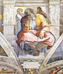 Prophet Jeremiah as depicted by Michelangelo, Sistine Chapel on Sistine chapel ceiling