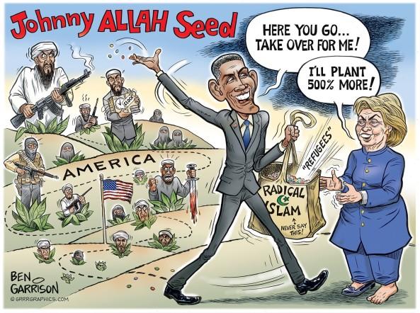 cartoon-obama-hillary-radical-islam-seeds