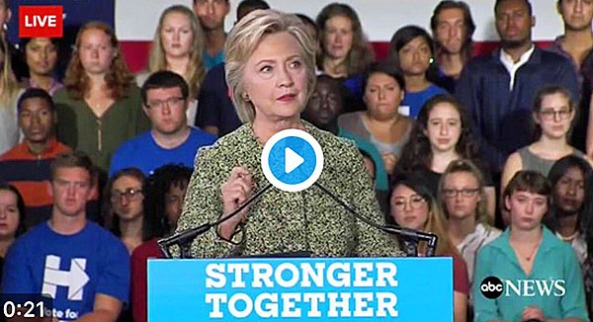 Clinton with zombie millennial audience
