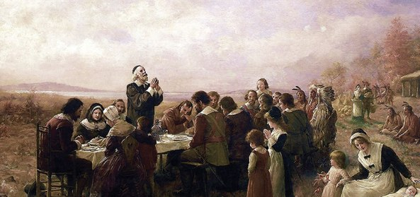 Painting above, The First Thanksgiving by Jennie Augusta Brownscomb, 1914