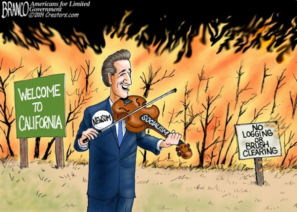 cartoon-governor fiddles California burns