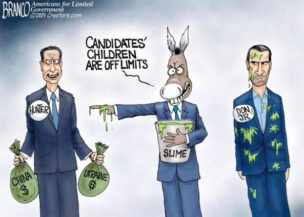 cartoon-left hypocrisy vs Don Jr