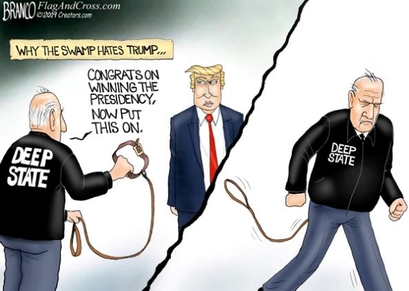 cartoon-trump vs deep state