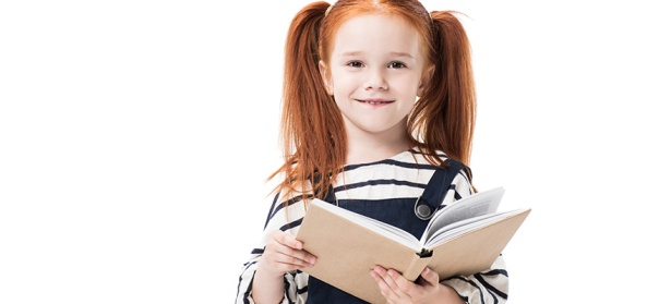 red-headed girl with book
