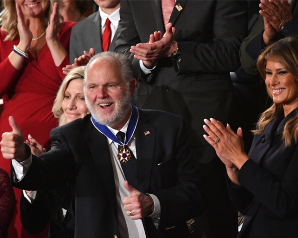 Limbaugh medal thumbs up